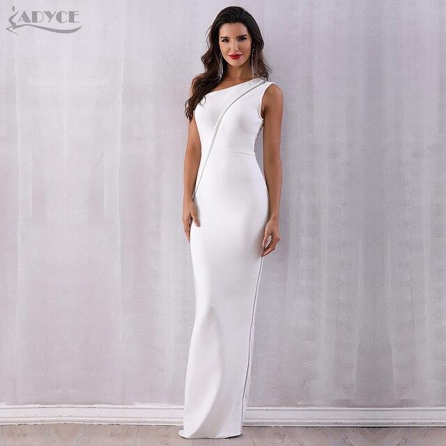 f048aa1392d5 Adyce 2018 Summer Bandage Dress Elegant Zipper One Shoulder White Long  Vestidos Sexy Women Maxi Celebrity