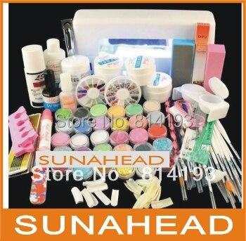 ФОТО Jumbo Nail Art Manicure Decoration 9W UV white dryer lamp 30 color Acrylic Powder Nail Art Kit gel tools Set A6