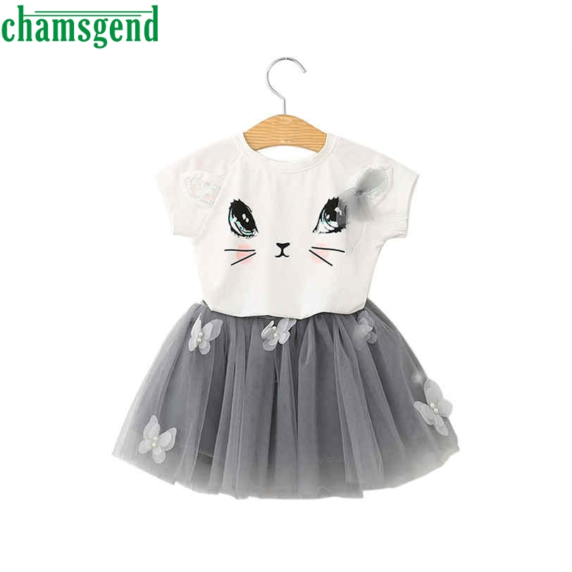 CHAMGEND Summer Kids girls dress clothes Cartoon Cat T shirt lace Children kids clothes suits clothes dropship MAY31