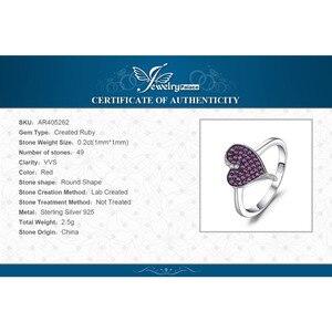 Image 5 - Jewelrypalace coração 0.3ct criado rubi pavimentar anel 925 prata esterlina coração amor anel de noivado nova chegada speical para mulher