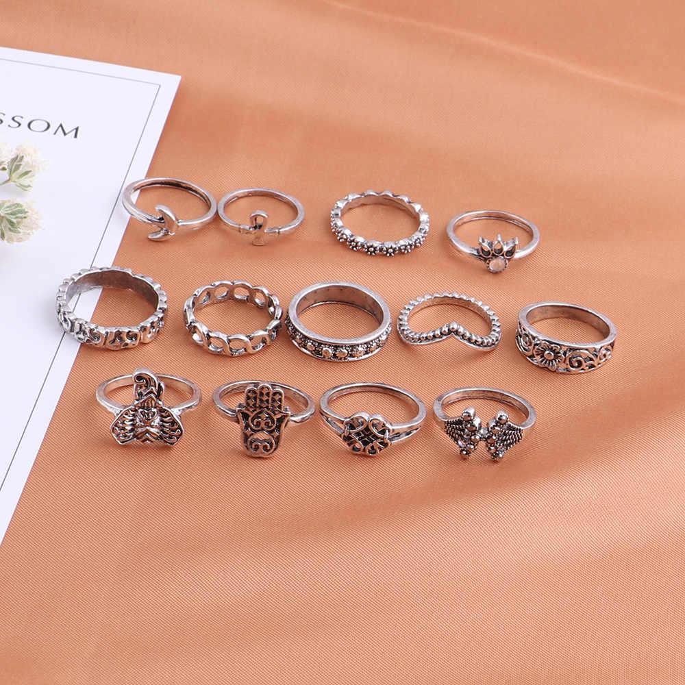 בוהמי רטרו קראון קריסטל טבעת Knuckle טבעת נישואים סט Steampunk Anillos אנל טבעות זהב כסף ירח תכשיטי תלמיד מתנה