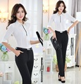 New Formal Pantsuits Uniform Style Professional Office Work Wear Suits Blouses And Pants Trousers Suits For Ladies Free Shipping