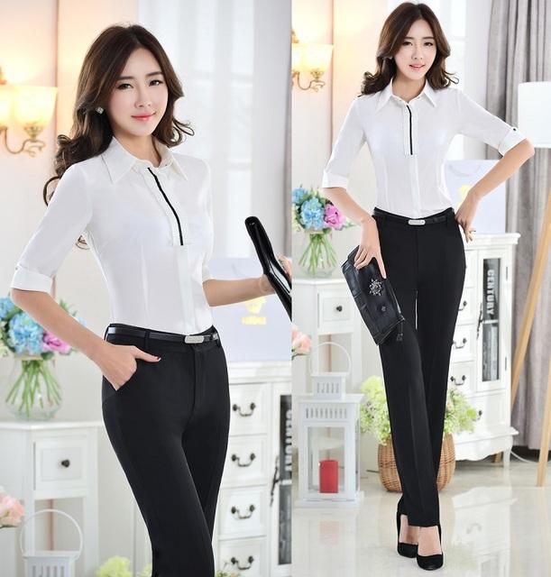 Nova terninhos formais estilo uniforme escritório profissional desgaste do trabalho ternos blusas e calças calças ternos para senhoras frete grátis