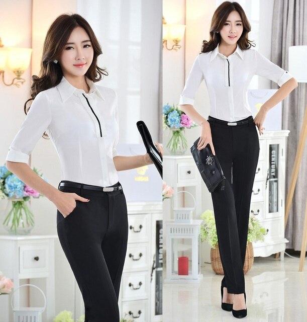 Nueva Formal trajes de pantalones de estilo uniforme de la oficina profesional trajes del desgaste del trabajo blusas y pantalones largos pantalones trajes para las damas envío gratis