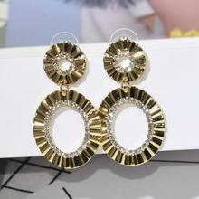 Metal Round Circle Hoop Earrings Golden Color Big Hollow Loop For Women Attractive