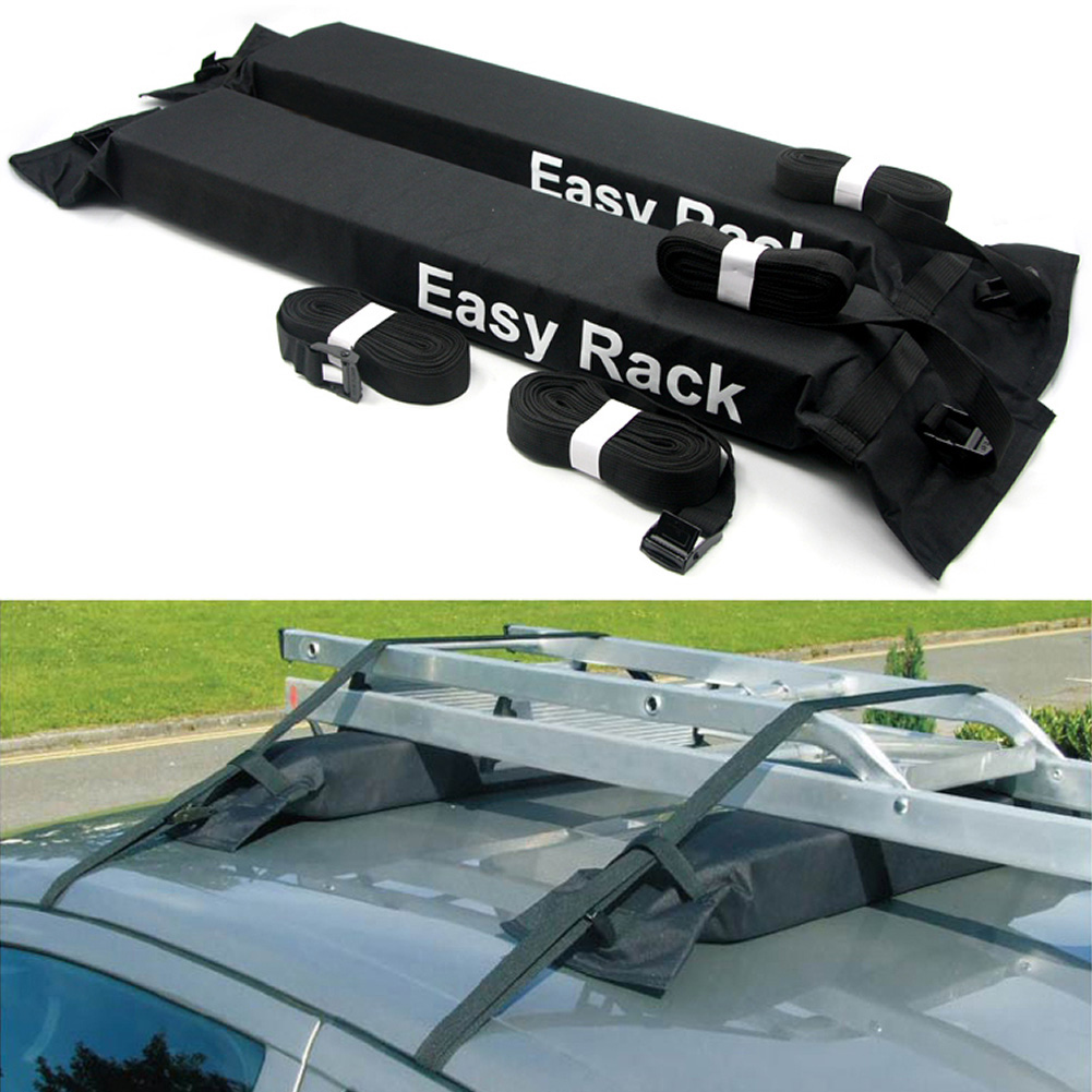 KKmoon Universal Auto Soft Car Roof Rack Outdoor Rooftop Luggage Carry Load 60kg Baggage Easy Fit Removable 600D Oxford /& PVC