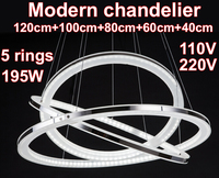 LED Modern Chandelier Lamps Hotel Living Room Fixture Pendant Lustre Candelabro 195W 220V 110V 120cm 100cm
