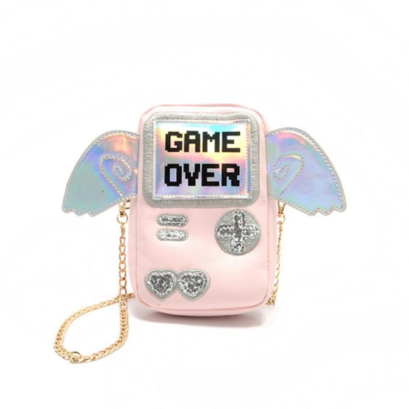 2017, Новая мода Игровые приставки Лазерная Сияющий Game Over печати Для женщин Мини Сумки на плечо с крыльями ангела Для женщин Курьерские сумки