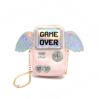 2017 New Fashion PlayStation Laser Shining Game Over Printing Women Mini Shoulder Bags With Angel Wings