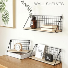 Floating Shelves Wall Mounted Wood Storage Bedroom Living Room Punch-free Wrought Iron Racks Creative Basket