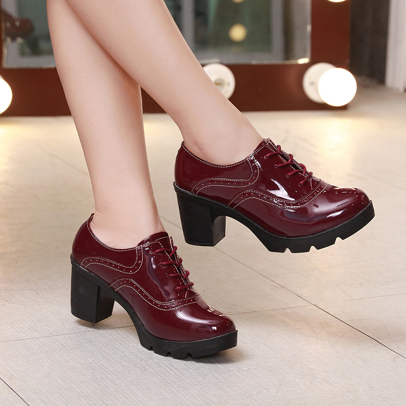 Rouge Pour Plate Beige Femmes Oxford Richelieu vin Up Verni Chaussures Printemps Lace Cuir Femme Marque noir Appartements Automne forme Plat En gqxfatTRw