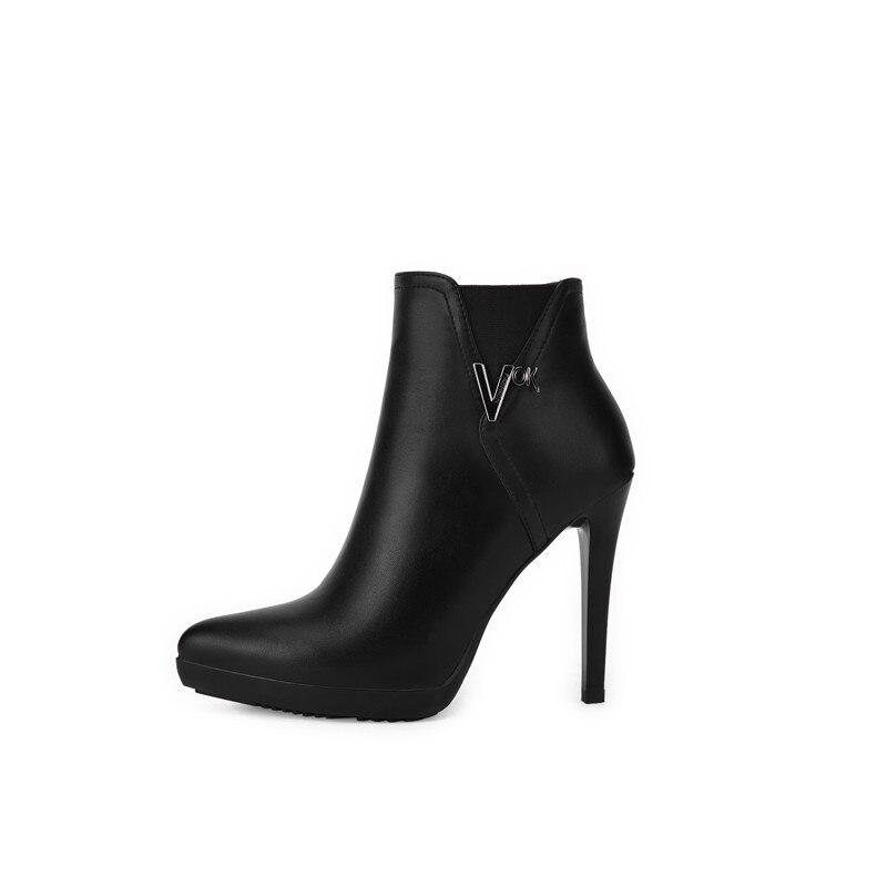 forme Doratasia Sexy À Bottes Orteil Plate Taille Femmes De Femme Noir 39 Glissière 34 Cheville Hauts Fermeture Chaussures Pointesd Talons OO4gwxqC
