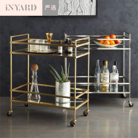 [InYard selected]Side a few, the cart, stainless steel gold silver, glass, mobile dinner side ark, Nordic, contracted design