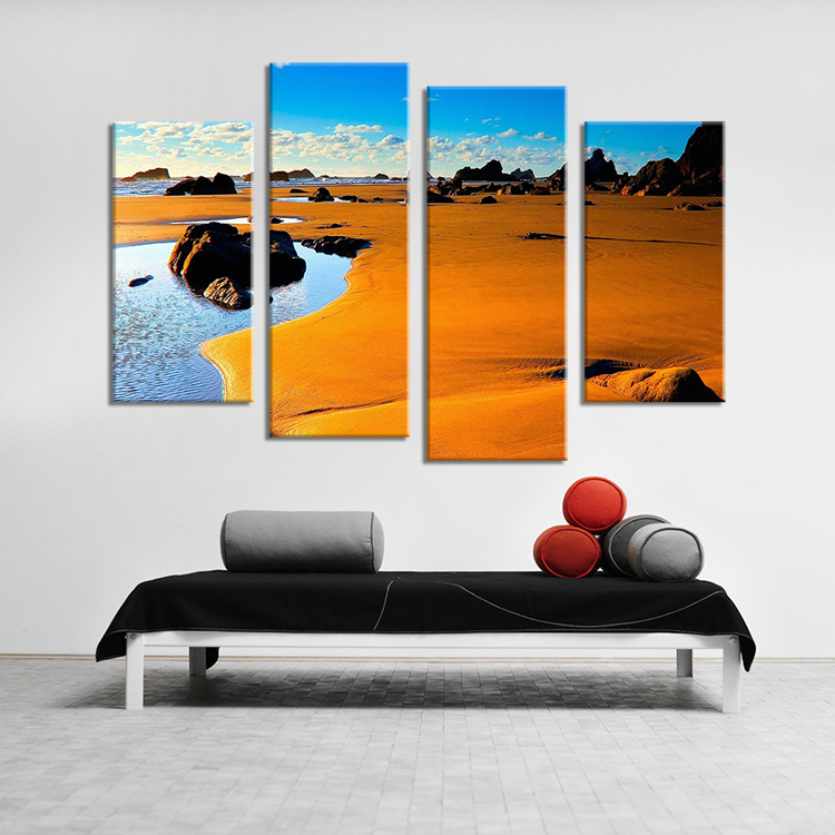 Hot Sells 4 Panels beautiful beach Painting Canvas Wall Art Picture Home Decoration Living Room Print On Canvas Modern Painting