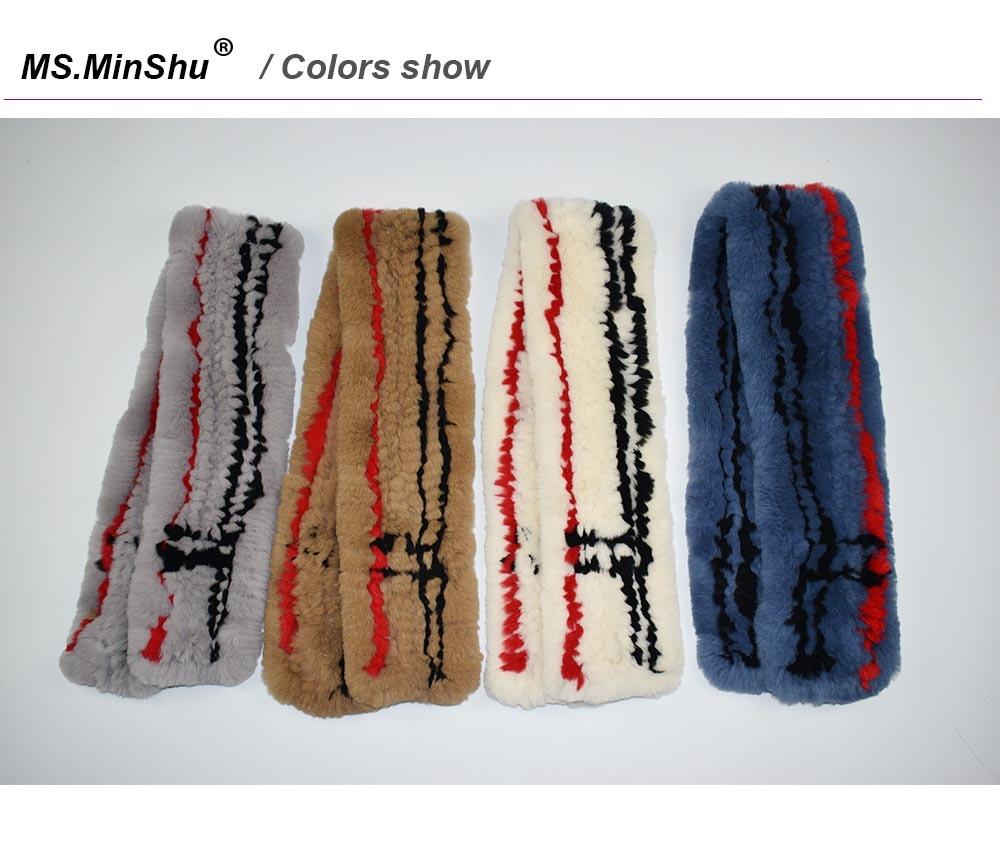 rex rabbit fur scarf plaid color show