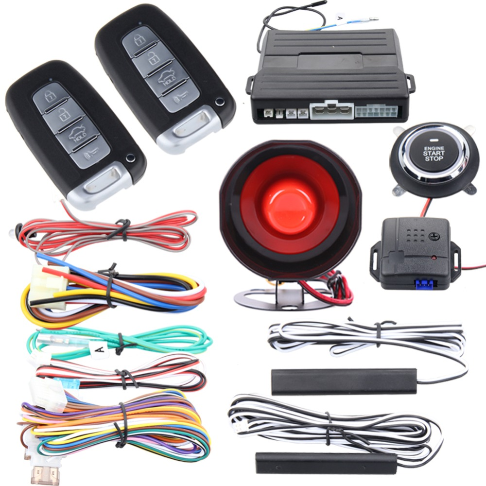купить Quality PKE car alarm system with keyless entry remote engine start stop push engine start stop shock warning universal version онлайн