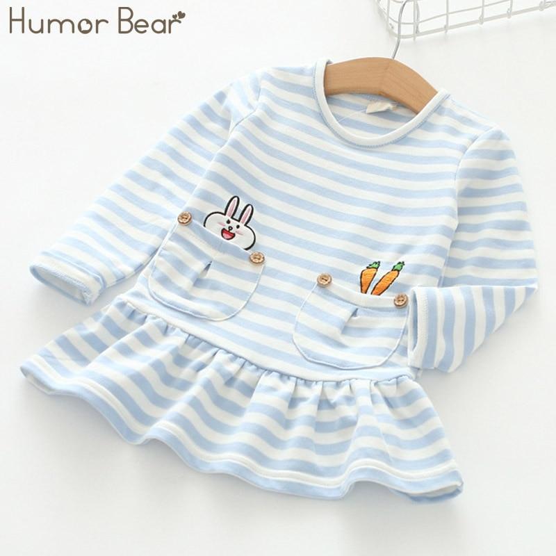 Humor Bear Brand 2017 Spring Autumn Baby Girls Dress Princess Dress Stripe Long Sleeve Cartoon Dresses For Kids Dress 3-7Y