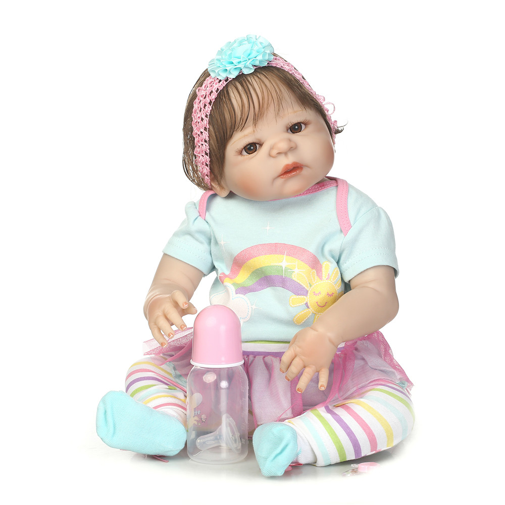 NPK 23full body silicone reborn baby dolls rooted new hair bebe girl reborn bonecas rainbow dress set children gift toy dollsNPK 23full body silicone reborn baby dolls rooted new hair bebe girl reborn bonecas rainbow dress set children gift toy dolls