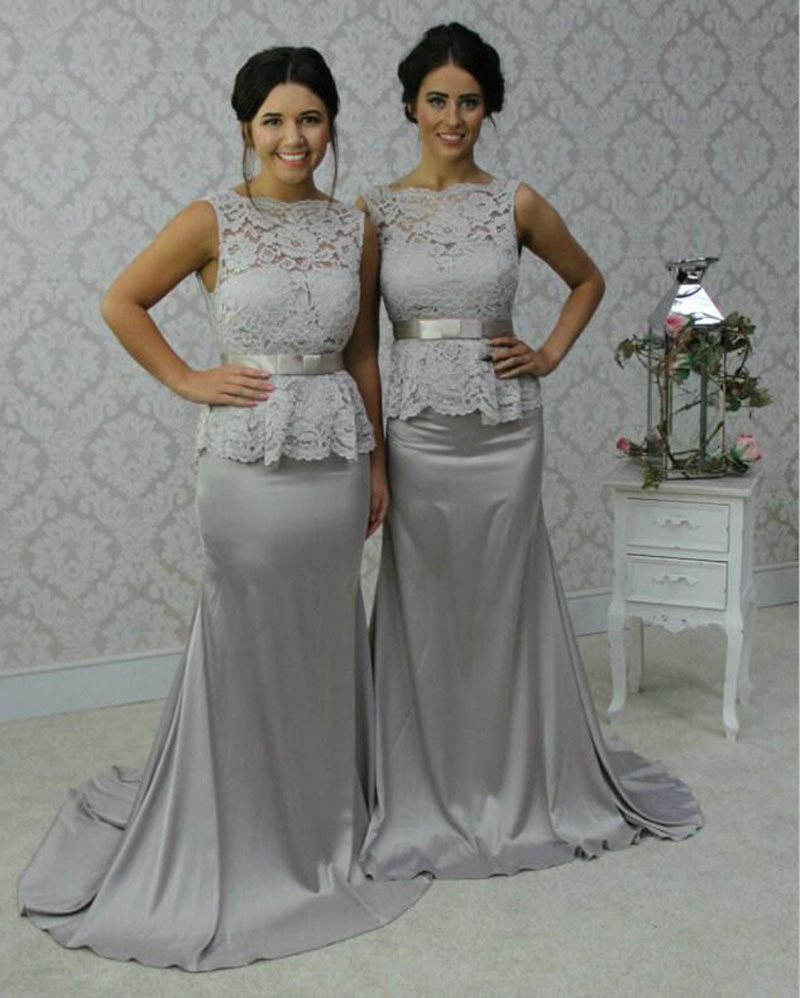2017 New Lace Grey Bridesmaid Dresses Boat Neck Sheer Wedding Party Dress Mermaid Train Vestidos De Festa Vestido Longo Backless In From