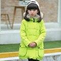 Roupas de inverno infantil meninas criança amassado jaqueta de médio-longo espessamento criança algodão-acolchoado jaqueta criança para baixo outerwear