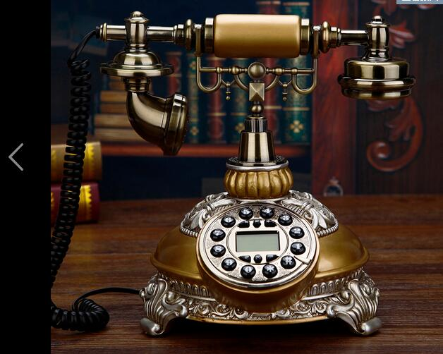 Telephone antique wood retro European fashion home phone optional rotary dial telephone