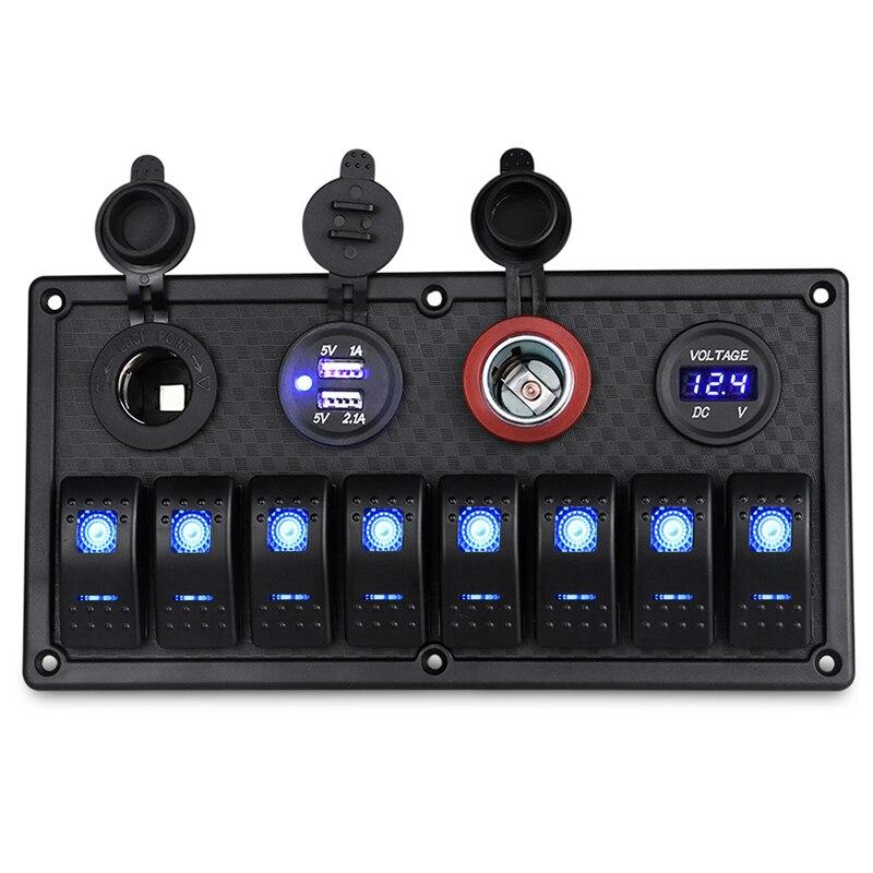12 V/24 V 8 Gang Marine Pannello Interruttore On-Off + Dual USB di Alimentazione Presa Accendisigari impermeabile Con Voltmetro A Led di Ricarica USB