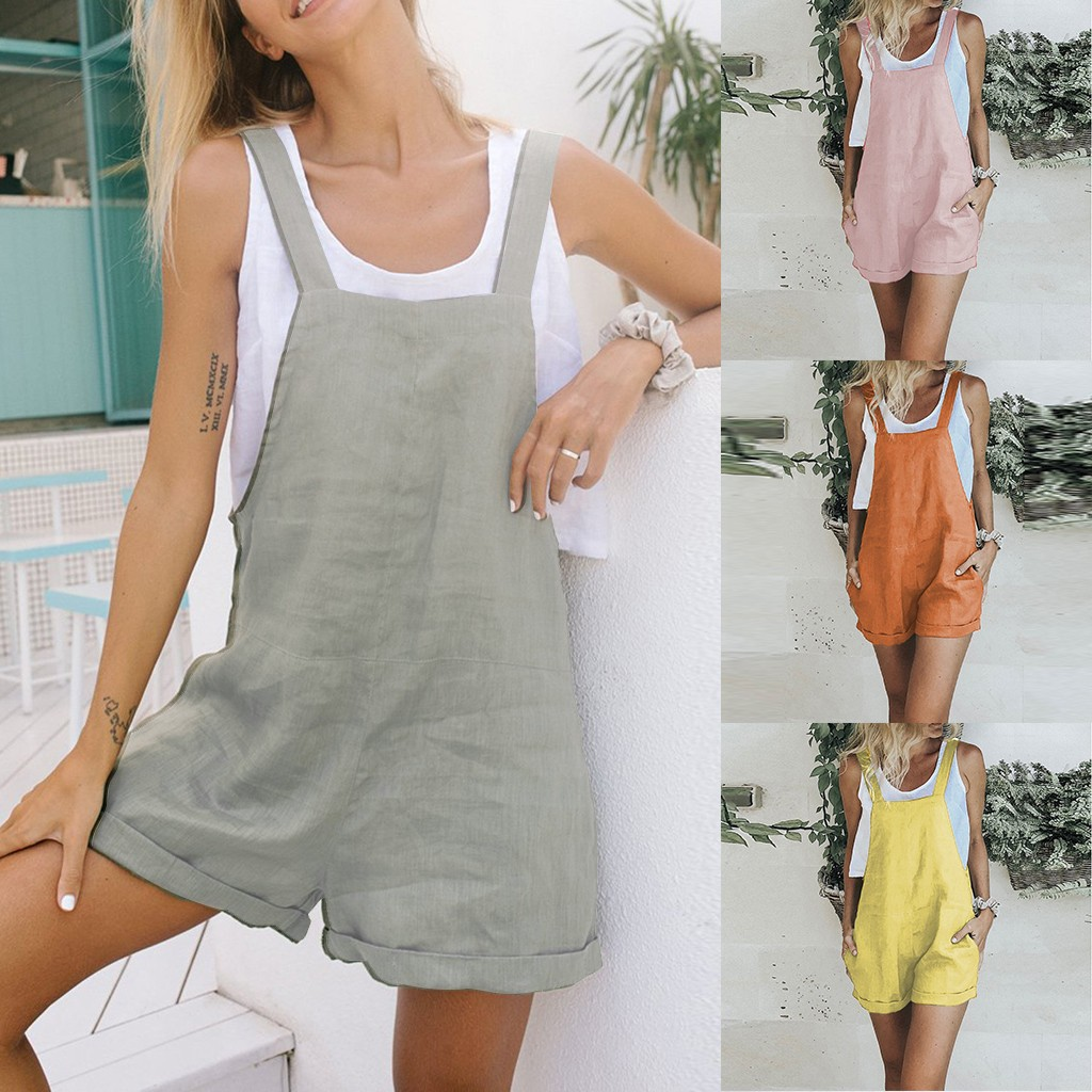Hawcoar Summer Women New Fashion Sexy Solid Color Sleeveless Pocket Bow Slim Jumpsuit Set Strap Playsuit комбинезон женский Z4(China)