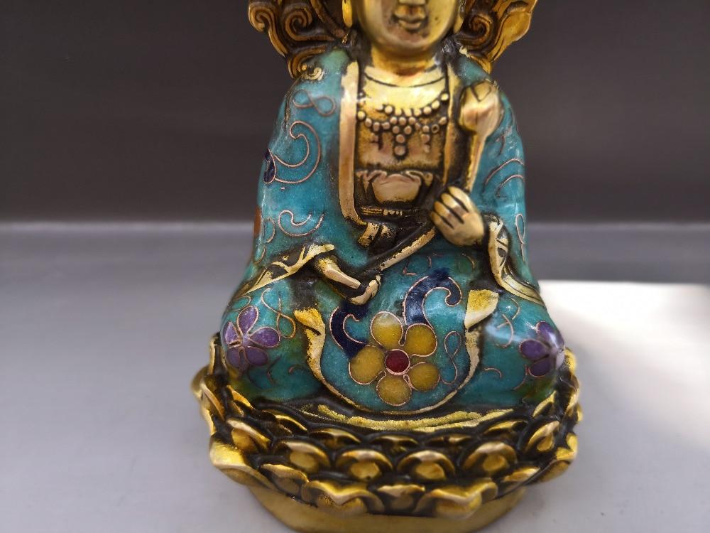 Chiński stary brąz Cloisonne statua tybetu Guanyin w Figurki i miniatury od Dom i ogród na  Grupa 3