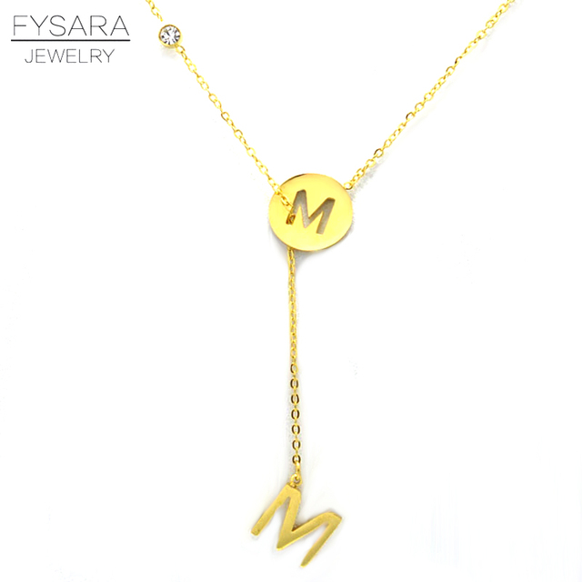 Fysara brand alphabet pendant necklace pendants m letter necklace fysara brand alphabet pendant necklace pendants m letter necklace for women men name jewelry clavicle gold mozeypictures Images