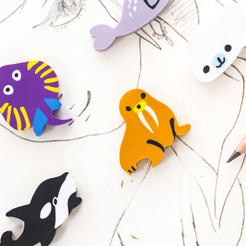 6pcs/lot Kawaii Happy Paradise Underwater World Sea Animals Eraser  Gift Kids's Puzzle Toy Student Learning Office Stationery