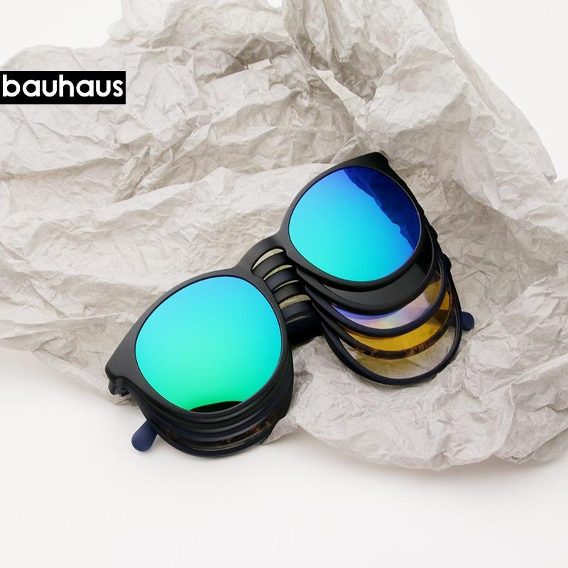 bauhaus 5 Lens Italy Design Magnet Sunglasses Clip Men Night Driving Magnetic Mirrored Clip Sun Glasses