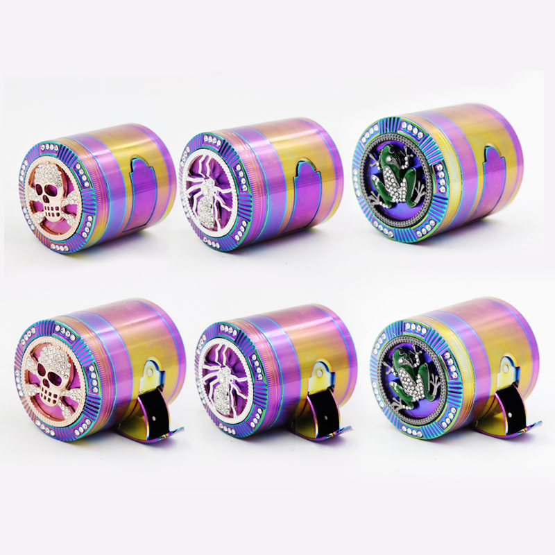 New Rainbow Color <font><b>Side</b></font> Shredder Ice Blue Zinc Alloy Tobacco <font><b>Sander</b></font> Cigarette Round Grinder Free Shipping image