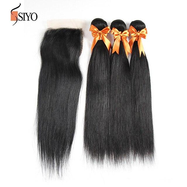 7a cabelo virgem brasileiro com fechamento direto brasileiro virgem do cabelo 3 bundles com fechamento lace closure com feixes de cabelo humano