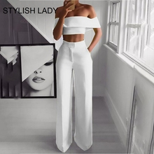 цена на STYLISH Lady Neon Green 2 Piece Set Women Solid Off the Shoulder Crop Top and Wide Leg Pants 2019 Sexy Summer Two Piece Outfits
