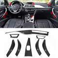 Carbon Trim 8 pcs / Set For BMW F30 3 Ser GT 4 Ser F36 & 6 pcs For 4 Ser F32 F33 Carbon Fiber Interior Trim Only LHD Gloss Black