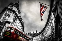 London Buildings Flag Trolley Motion Blur Colorsplash Street View 288FJ Room Home Wall Modern Art Decor