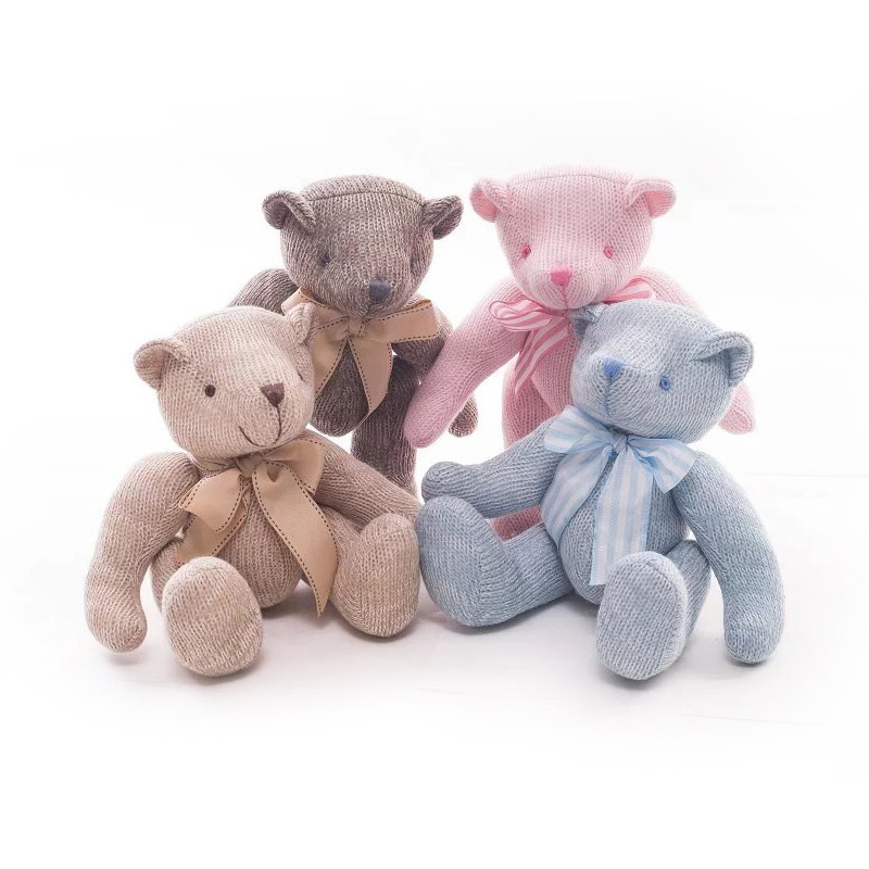 Söt Lovely Creative Knitting Teddybjörn Plush Doll Barnleksaker Bröllopsdekoration Gift för barn Barn 1pc 11in