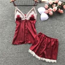 Summer pyjamas shein silk spaghetti strap sexy lace Lingerie set V-neck sleeveless shorts two pieces pajamas for women home wear