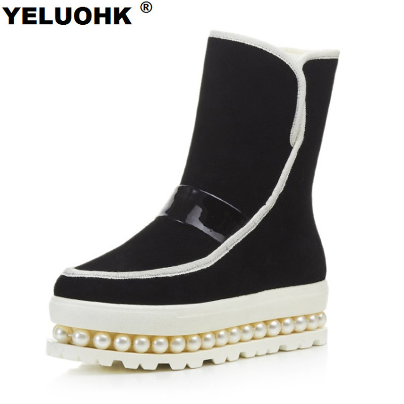 Fashion Pearl Winter Women Shoes Platform Snow Boots Warm Fur Ankle Boots Black Fur Warm Flat Boots For Women High Quality winter new fashion shoes women boots ankle warm snow boots with fur zipper platform flat boots camouflage cotton shoes h422 35