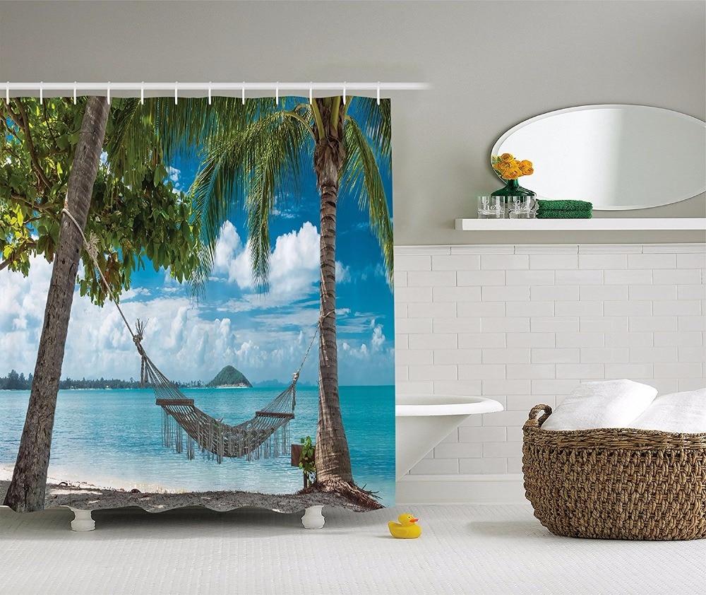 High Quality Arts Shower Curtains Palm tree leisure chair beach blue ...