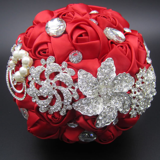 Gorgeous Customized Silk Roses Wedding Accessories Pearl Beaded Brooch buque de noiva Wedding Flowers Bridal Wedding Bouquet FE3