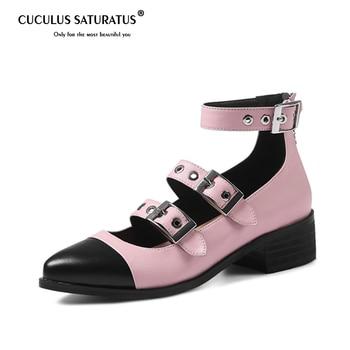 Cuculus Spring autumn med heels shoes genuine leather fashion punk women pumps party shoes shallow zipper mixed colors 1545