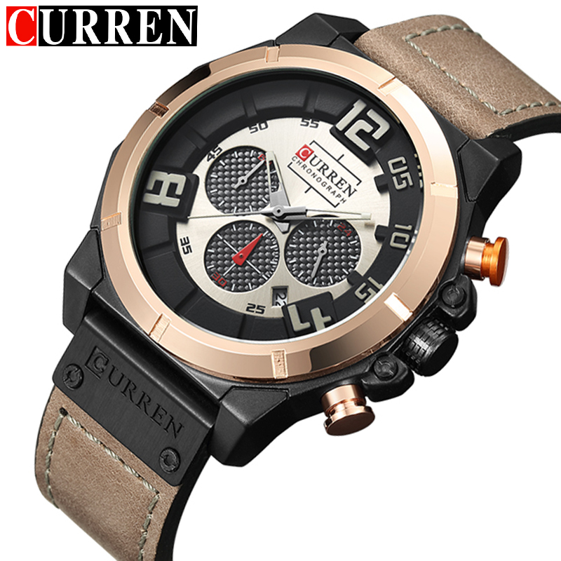 Fashion Style CURREN Mens Watches Top Brand Luxury Leather Quartz-watch Chronograph Luminous Sport Men Wrist Watch reloj hombre цена и фото
