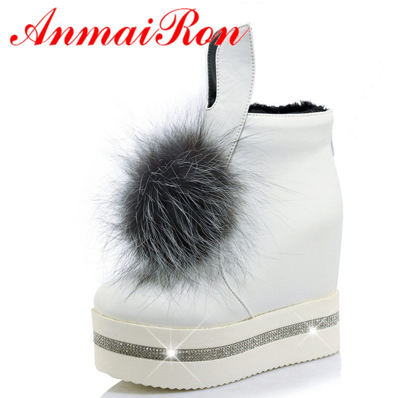 ФОТО ANMAIRON New Fur Ball Charms Shoes Woman High Heels Ankle Boots for Women Winter Warm Shoes 3 Colors White Shoes Fashion Boots