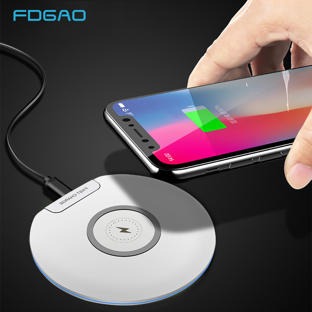 FDGAO 10W Qi Wireless Charger For iPhone XS Max XR X 8 plus QC 3 0 Fast Charger USB Charging Pad For Samsung S10 S9 S8 Note 9 8 in Mobile Phone Chargers from Cellphones Telecommunications