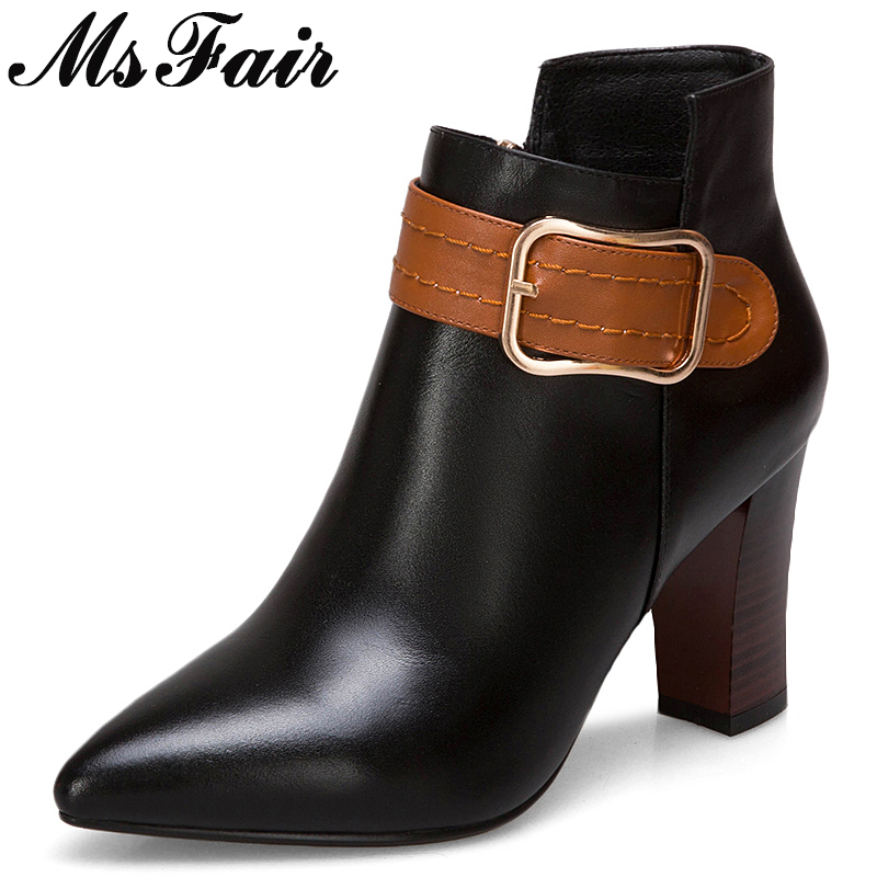 MsFair Pointed Toe High Heel Women Boots Genuine Leather Sexy Ankle Boots Women Shoes Elegant Fashion Buckle Boots Shoes Woman msfair women pointed toe high heel boots genuine leather metal buckle women ankle boots winter thin heel ankle boots women shoes