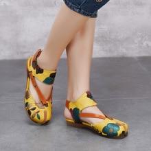 Женские летние туфли из натуральной кожи на низком каблуке, женские сандалии ручной работы с цветочным принтом 1198-18