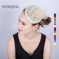 2017 style De Mode ivoire Birdcage Net De Mariage femmes Fascinateur chapeaux Voiles Plume avec Épingle À Cheveux de cheveux de mariage accessoires SYF200