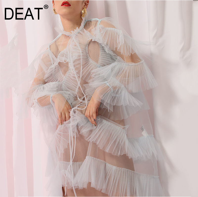 DEAT 2019 nouveau printemps et été mode femmes vêtements volants patchwork voir à travers sexy mi-claf robe vacances vestido JG624