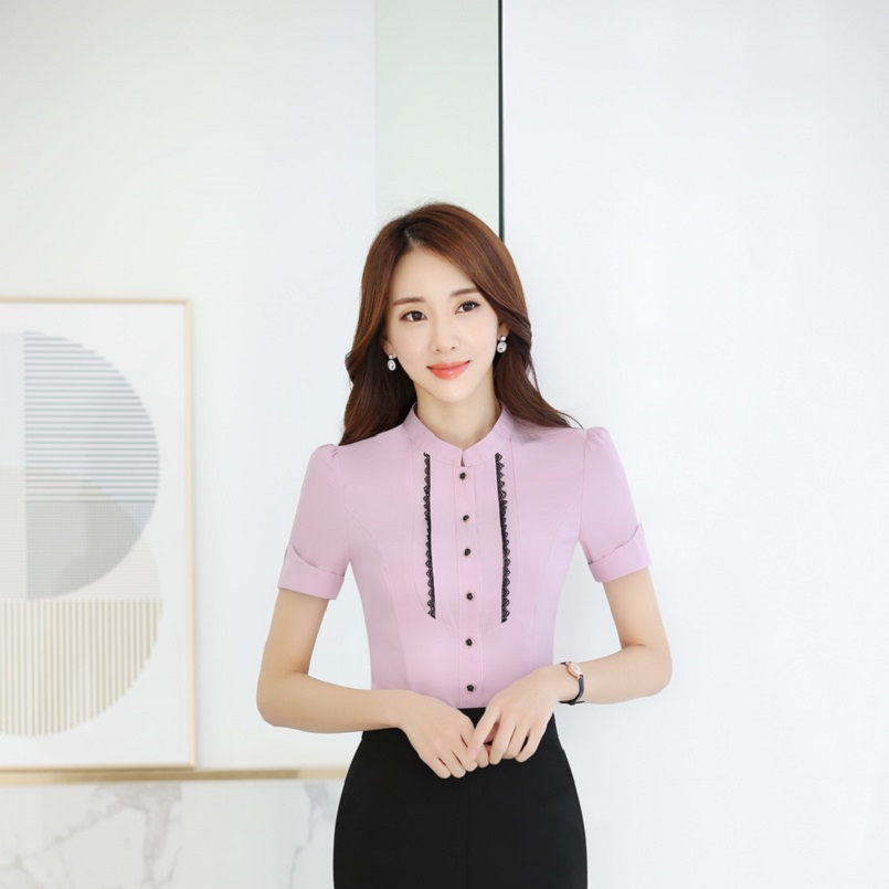 726f01bdcb1f Blusas de verano de manga corta estilo uniforme Formal para Mujer ...